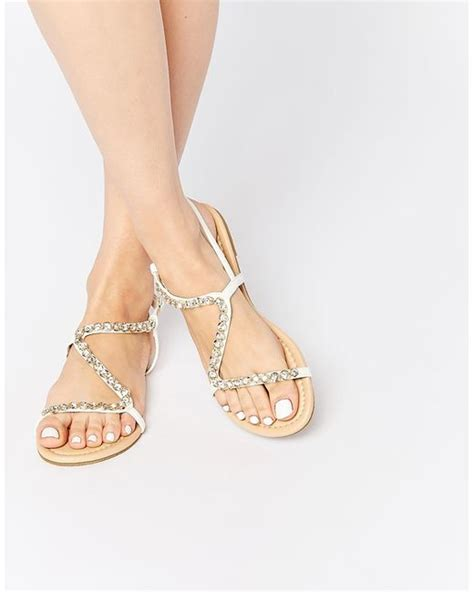 Flirty Flats by Asos Flirty Embellished Flat Sandals In Gold Whitegold