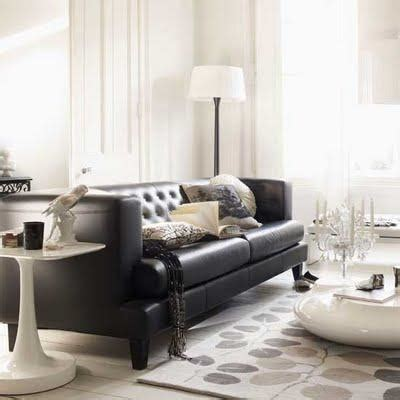 Living Rooms With Black Leather Sofas Black Leather Tufted Sofa Contemporary Living Room Living Etc