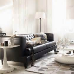 Living Rooms With Black Sofas Black Leather Sofa Design Ideas