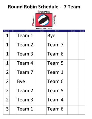 7 team round robin schedule 2 courts fill online