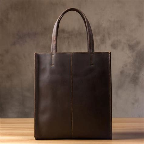 Leather Carrier Bag For The Who Has Everything by Handmade Leather Tote Bag Shopping Bag