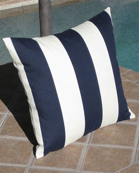 Outdoor Navy Blue and Off White Stripe Throw Pillow Cover