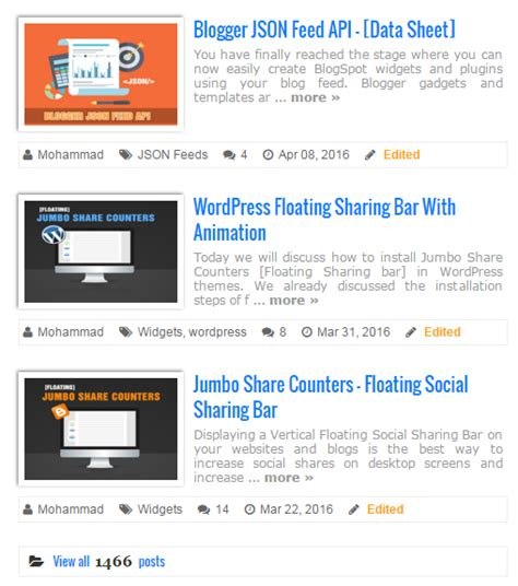 blogger new post display recent posts with featured thumbnails in blogger