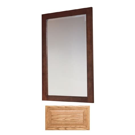 oak bathroom mirror shop insignia insignia 32 in h x 20 in w medium oak rectangular bathroom mirror at lowes com