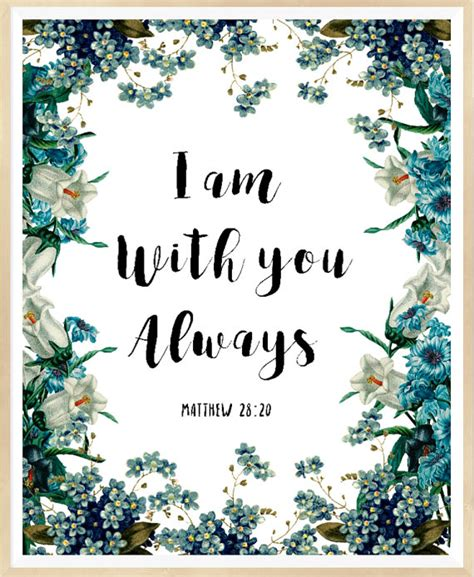 free printable art bible verses bible verse wall art i am with you always matthew 28 20