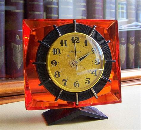 mechanical desk clock soviet clock molnija vintage mechanical desk clock ussr