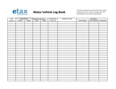 mileage log sheet