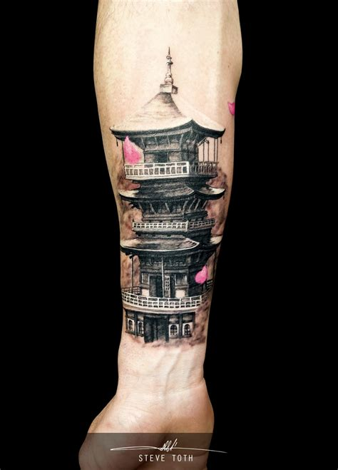 chinese temple tattoo designs pagoda by steve toth tattoos