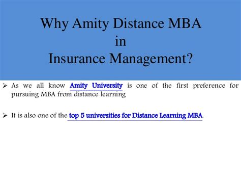 Amity Distance Learning Mba Syllabus by Amity Distance Mba In Insurance Management