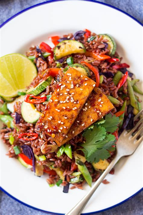 red rice stir fry  spicy tofu  announcement lazy