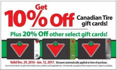 Tire Rack Gift Card by Loblaws Ontario Save 10 On Canadian Tire Gift Cards 20 On Select Gift Cards Canadian