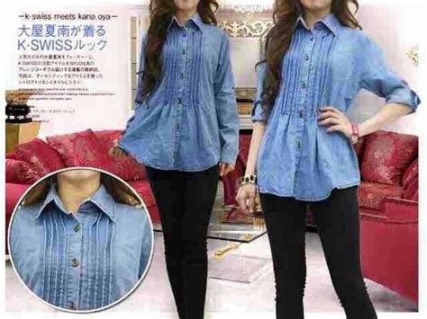 Baju Atasan Wanita Muslim Blouse Material Cotton Rayon Fit Xl jual blouse denim murah blouse with