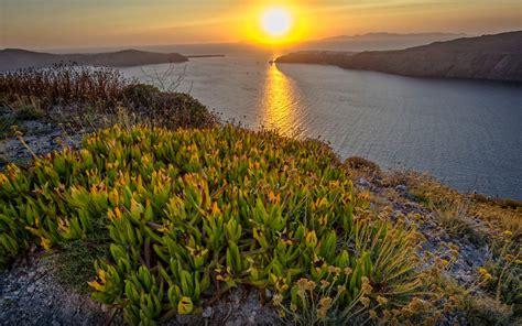 sunset  greece mountain flowers sea horizon desktop