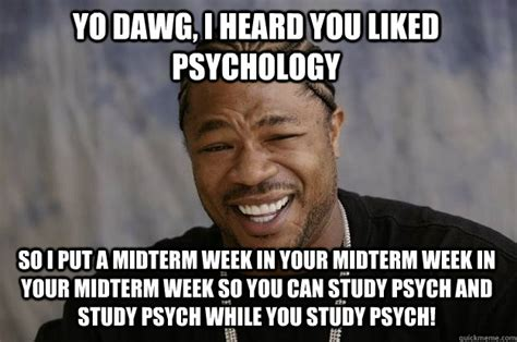 Midterm Memes - yo dawg i heard you liked psychology so i put a midterm