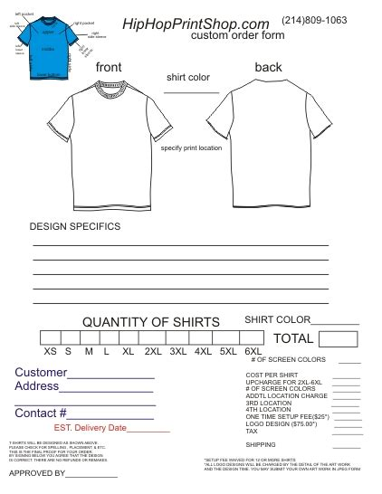 printable t shirt order form template t shirt order form template cyberuse