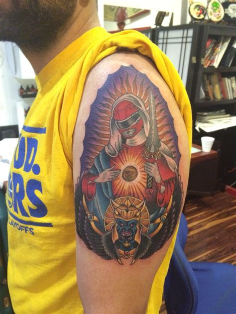 red ranger virgin mary tattoo power rangers tattoo matt