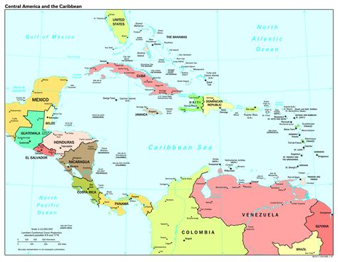 central america map with states and capitals large scale political map of central america and the