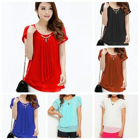 Hotd Top Ori Adv Suplier Baju baju blouse korean style blue denim blouses