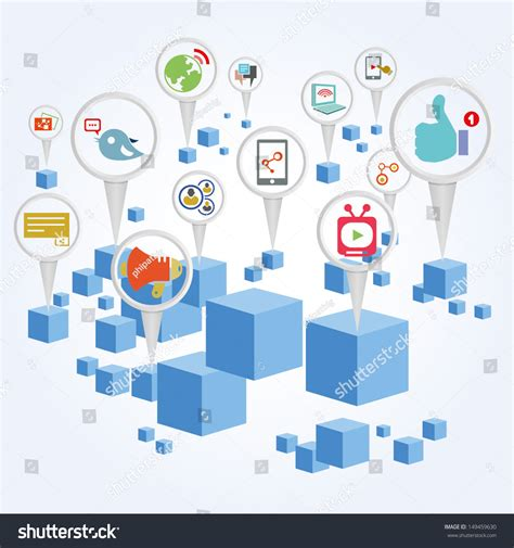 Social Network Search By Email Social Media Social Network And Big Data Ages Background Stock Vector 149459630