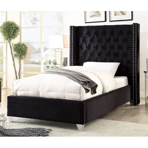 black tufted bed meridian furniture aidenblack t aiden black tufted velvet twin bed w nailhead detail