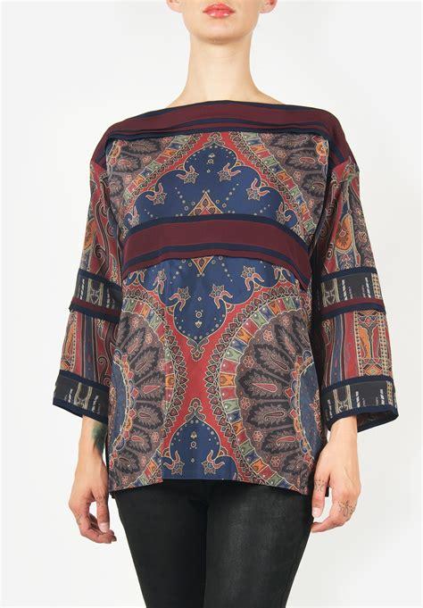 etro quilted jacket in tribal pattern santa fe dry goods etro horizontal stripe silk top in blue red santa fe