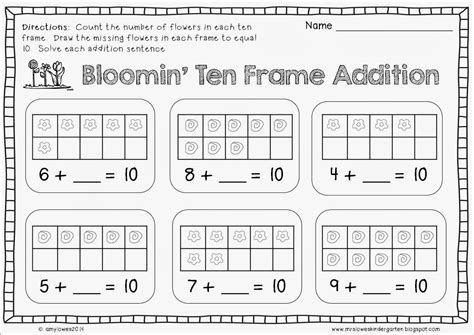 Ten Frame Worksheet by Mrs Lowes Kindergarten Korner Everyone S A Winner No