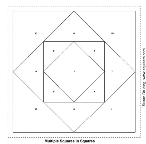 Square Patchwork Templates - paper pieced square in square can resize on graph paper