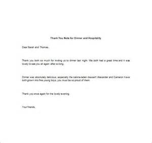 Thank You Letter Hospitality Appreciation Sles 8 Thank You Note For Dinner Free Sle Exle Format Free Premium Templates