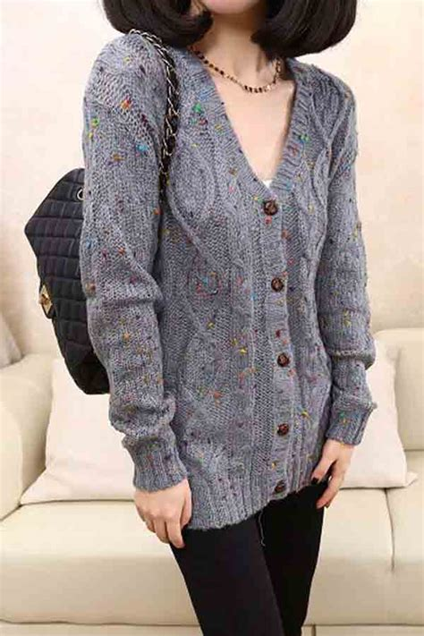gray  neck buttons  cardigan sweater   sweaters