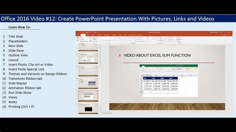 excel tutorial powerpoint presentation excel course office 2016 video 12 create powerpoint