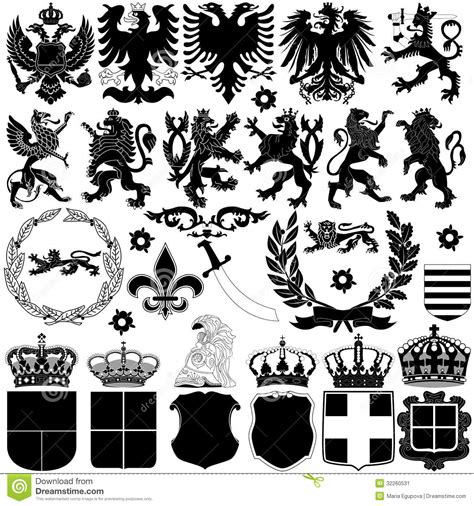 heraldic design elements vector heraldry design elements stock image image 32260531