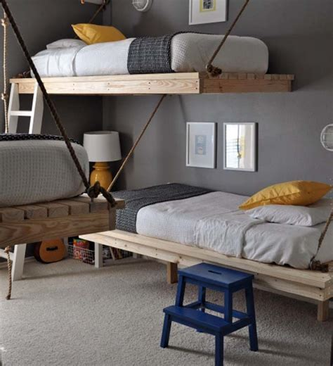 Creative Three Boys Bedroom Design Diy Hanging Beds Boys Bedroom Furniture Ideas