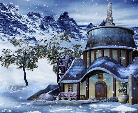 Hintergrundbilder Winter 3D-Grafik Schnee Haus 3d Wallpaper For Winter
