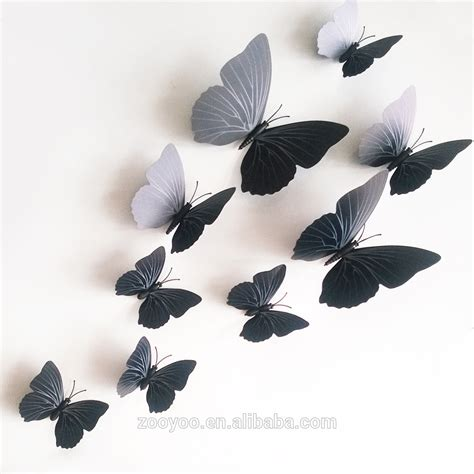 H023 3d Wall Sticker Butterfly Pvc Stiker Dinding Kupu Kupu Motif Te zooyoo 3d butterfly wall sticker design decal home