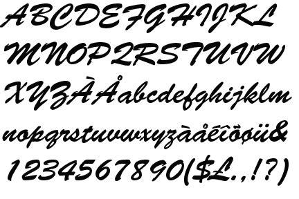 Brush Script identifont brush script