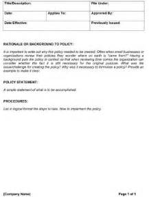 blank policy and procedure template small business free