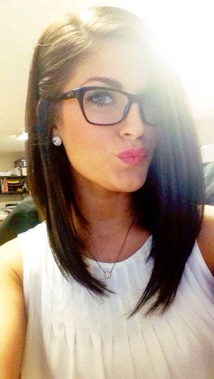 hairstyles nerd glasses brown long bob lob hair with side parting and cute geek