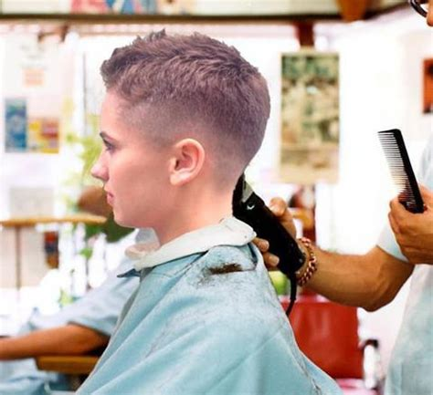 female in barber chair getting buzzcut 458 flickr photo sharing