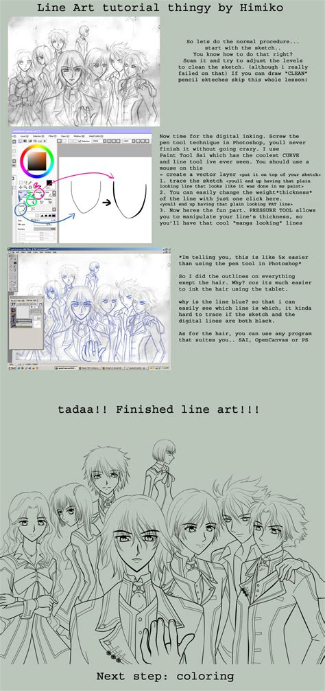 Tutorial Photoshop Line Art | line art tutorial in sai by himiko on deviantart