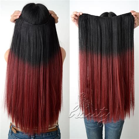 Hair Extension Ombre Gradient Wig Hair Clip Light Purple Pink 24 quot mega premium gradient clip in ombre dip dye hair extensions 160g ebay
