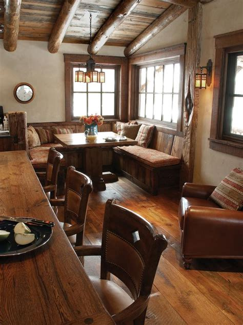 corner breakfast nook  rustic kitchen hgtv