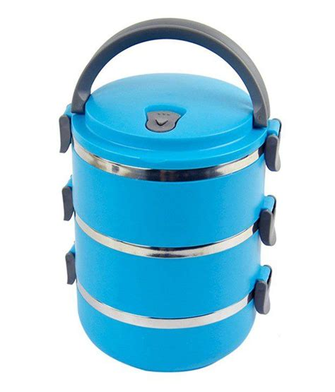 Lunch Box Kotak Makan Buy 1 Get 3 Tempat Rantang Rainbow Murah blossoms 3 layer stainless steel lunch box blue buy at best price in india snapdeal
