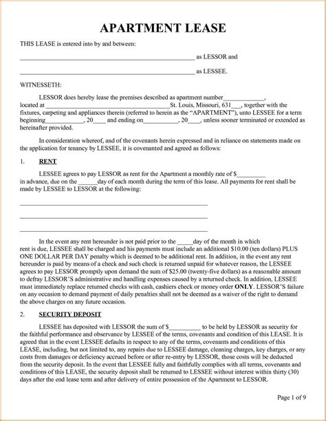 Blank Apartment Lease Latest Bestapartment 2018 Free Lease Template Pdf
