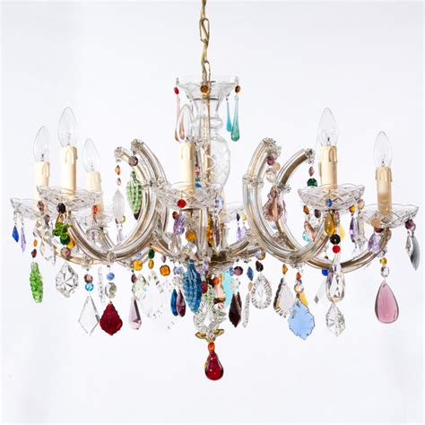 Coloured Chandeliers Uk 8 Arm Therese With Multi Coloured Drops Chandeliers By Honey Bee Interiors