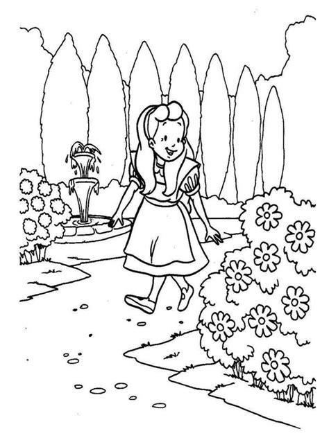 alice walking   garden  alice  wonderland