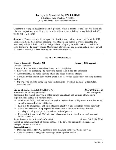 Ccrn Resume Myers Msn Resume 2016