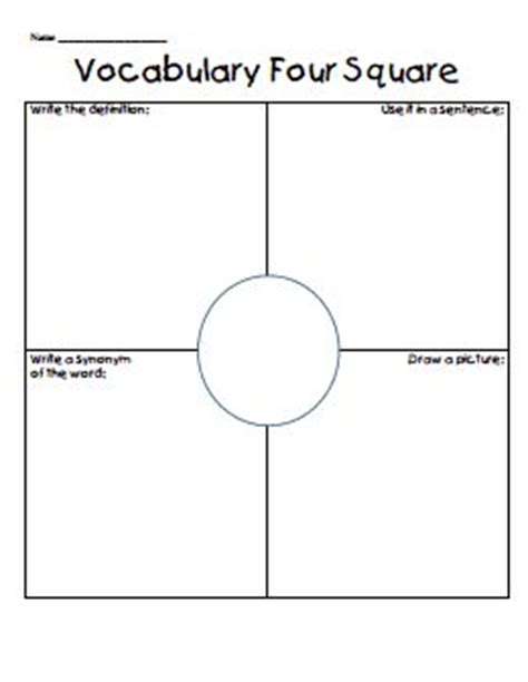 four square template vocabulary four square pdf literacy block