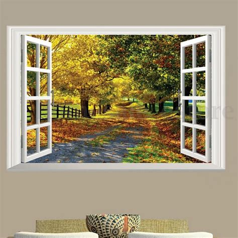 decorative window decals for home 3d maple boulevard large wall sticker window view art