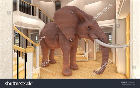 elephant in living room elephant in the living room 3d rendering stock photo 514380517