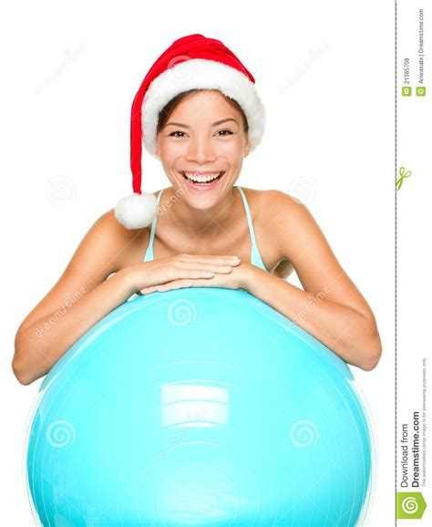 fitness christmas pics fitness in santa hat stock photo image 21385708